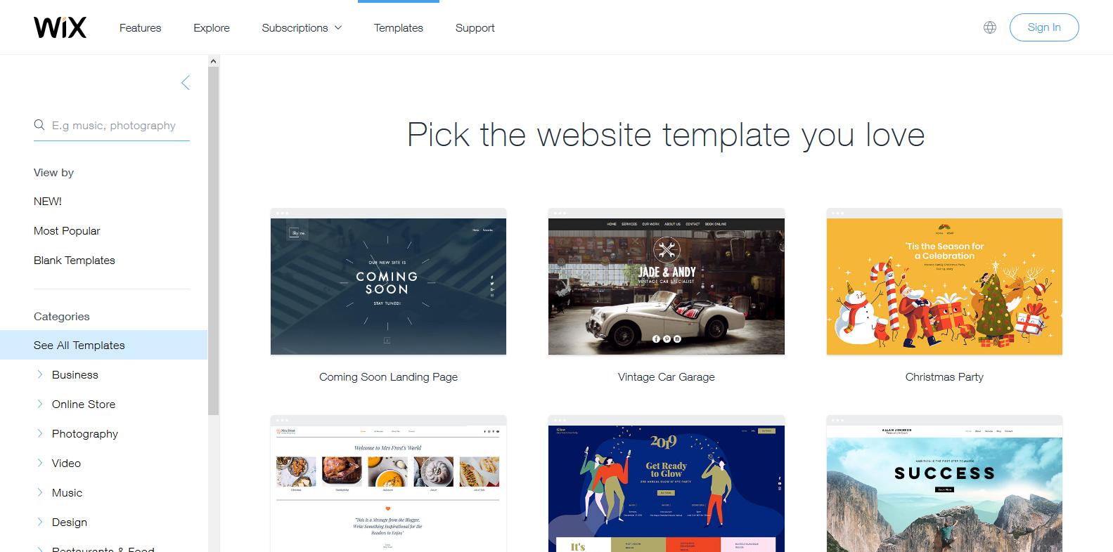 Screenshot_2018-10-30 Website Templates Free HTML5 Website Templates Wix com