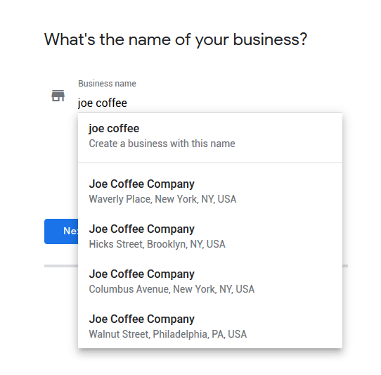 Google My Business Listing Step 1