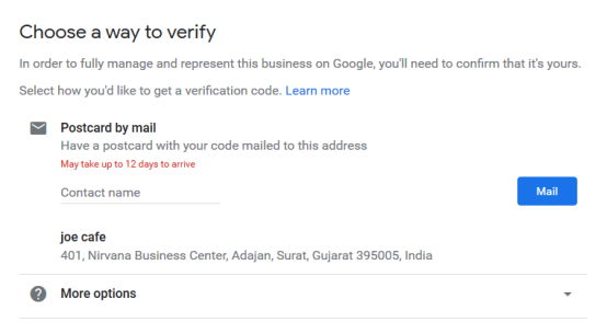 Google My Business Listing Step 7 - Verification