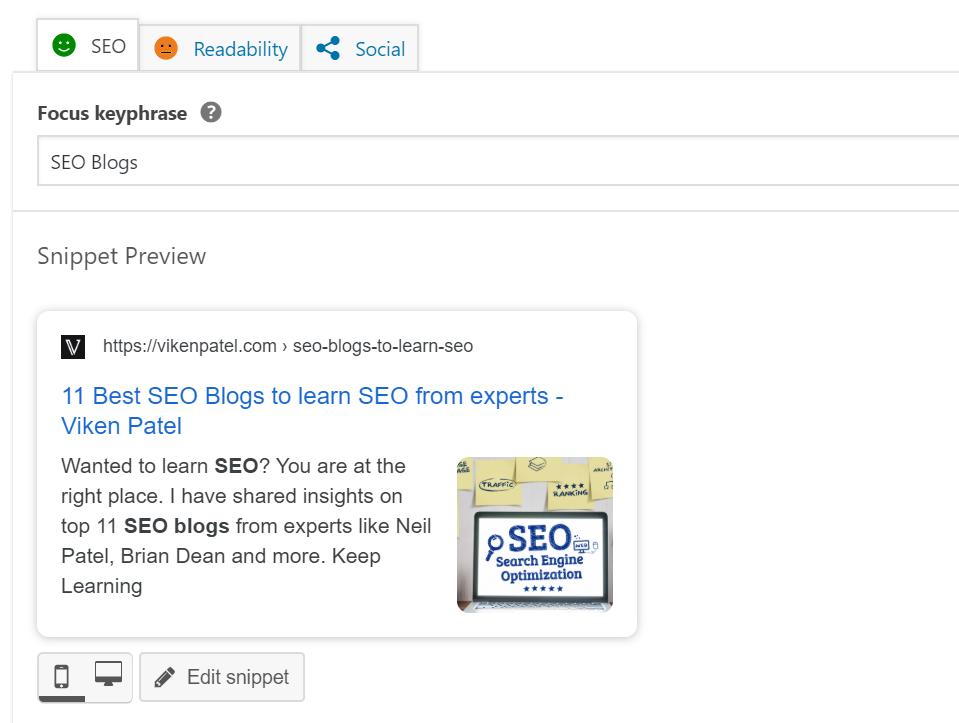 WordPress meta title and meta description via Yoast SEO Plugin