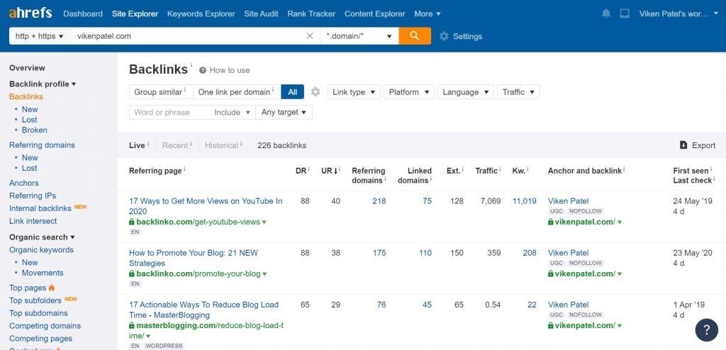 Ahrefs Backlinks Screen